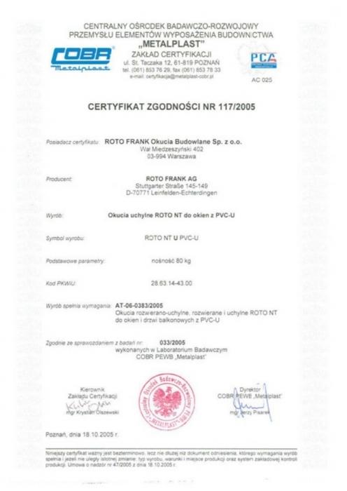 """Certyfikat zgodności - okucia """"U"""" ROTO NT Vetrex"""