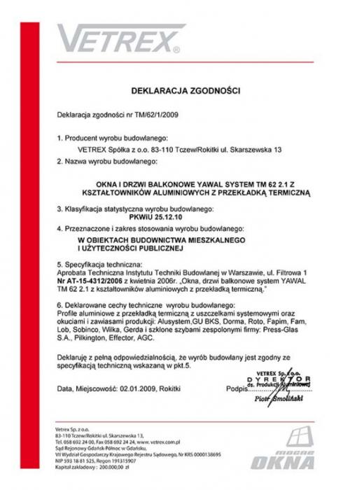 Deklaracja zgodności okna i drzwi balkonowe TM/62/1/2009 Vetrex