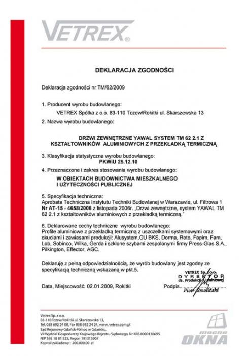 Deklaracja zgodności drzwi zewnętrzne TM/62/2009 Vetrex