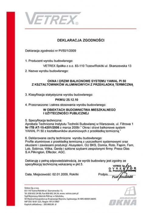 Deklaracja zgodności okna i drzwi balkonowe PI/50/1/2009 Vetrex