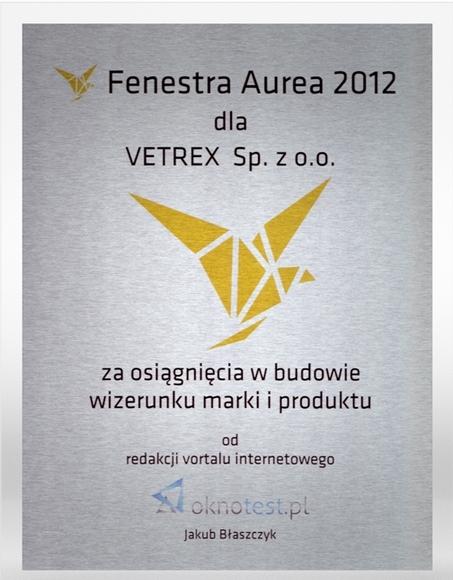 Nagroda Fenestra Aurea 2012 Vetrex