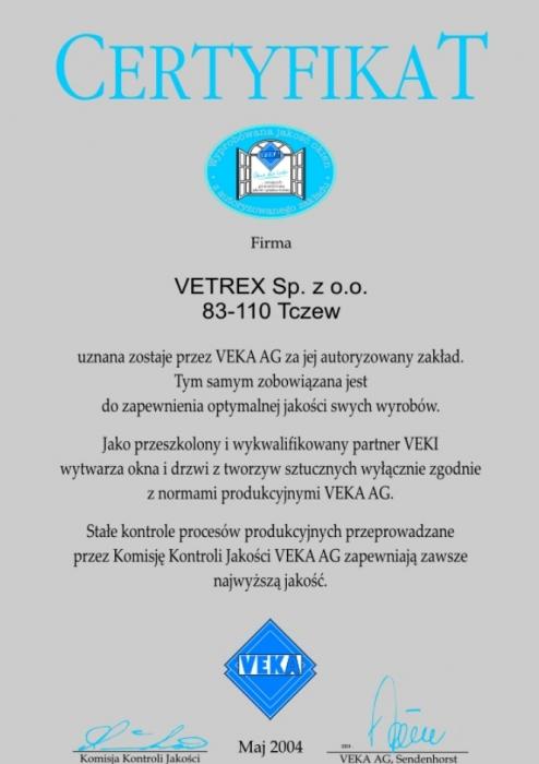 Certyfikat VEKA firmy Vetrex