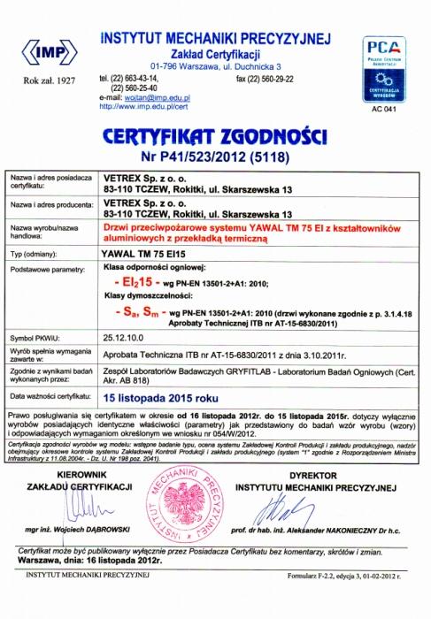 Certyfikat zgodności - Klasa odporności ogniowej EI15 Vetrex