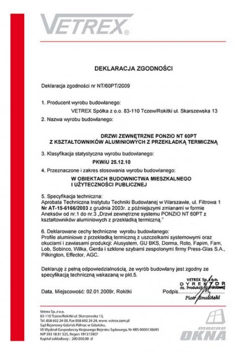 Deklaracja zgodności drzwi zewnętrzne NT/60PT/2009 Vetrex
