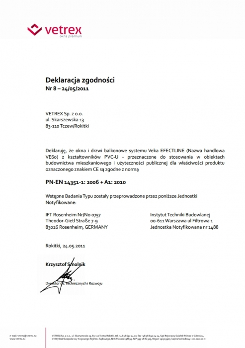 Deklaracja zgodności - Veka Efectline Vetrex