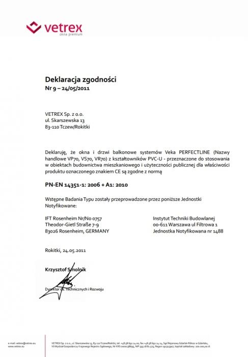 """Certyfikat zgodności okucia""""R- U+R"""" ROTO NT o zwiększonej odporności na włamanie Vetrex"""