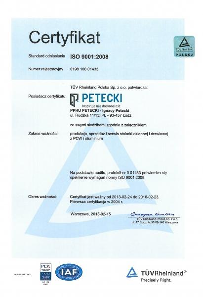 Certyfikat ISO 9001:2008 dla firmy PETECKI