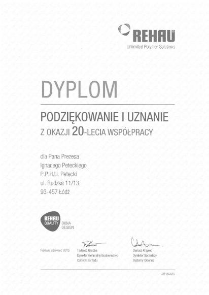 Dyplom Rehau Quality firmy PETECKI