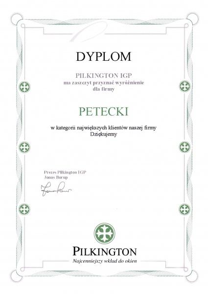 Dyplom Pilkington IGP dla firmy PETECKI