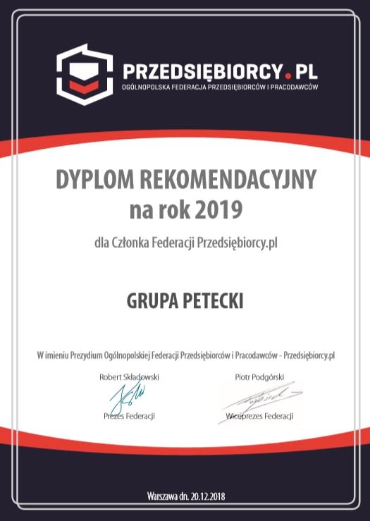 Dyplom Rekomendacyjny na rok 2019