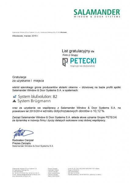 Gratulacje od Firmy Salamander dla firmy PETECKI