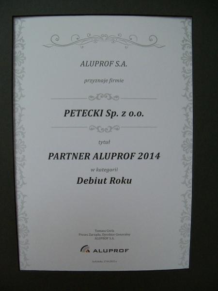 Wyróżnienie PARTNER ALUPROF 2014 dla firmy PETECKI
