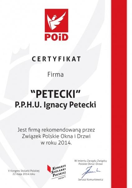 Certyfikat Związku Polskie Okna i Drzwi dla firmy PETECKI