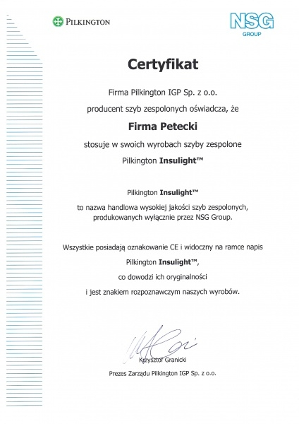 Certyfikat Pilkington IGP dla firmy PETECKI