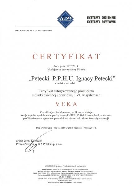 Certyfikat VEKA dla firmy PETECKI