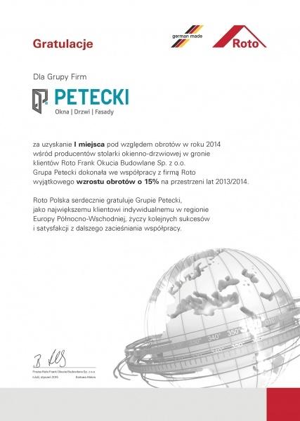 Gratulacje od Firmy ROTO dla firmY PETECKI
