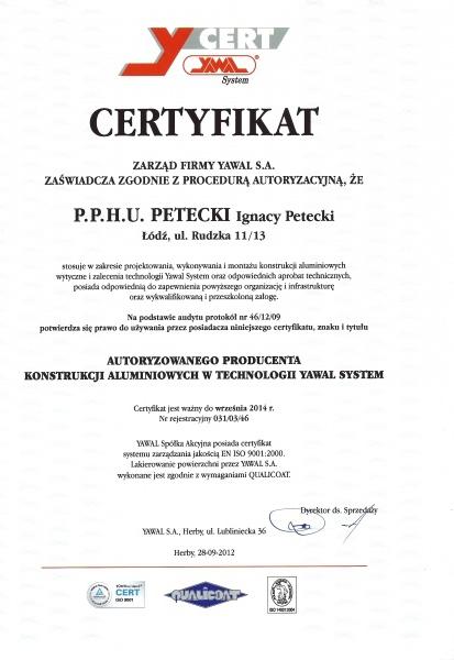 Certyfikat Yawal System dla firmy PETECKI