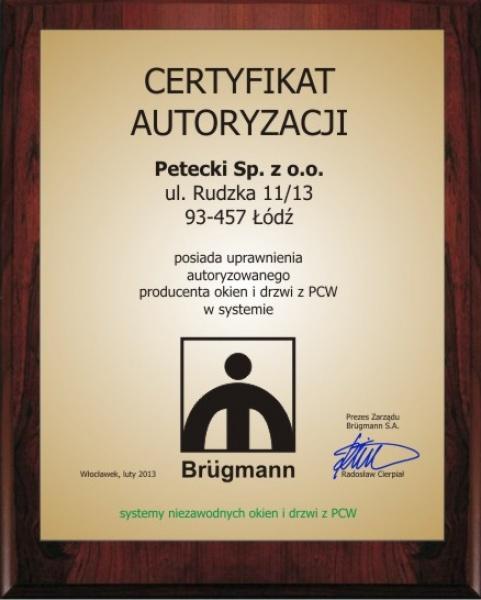 Certyfikat Brügmann dla firmy PETECKI