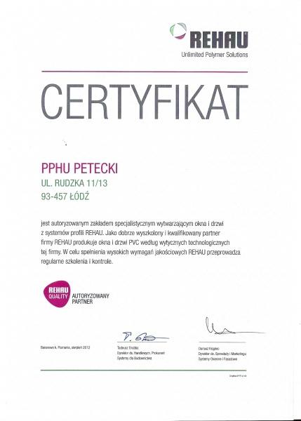 Certyfikat Rehau Quality dla Firmy PETECKI