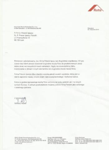 Certyfikat Roto FRANK AG dla firmy PETECKI