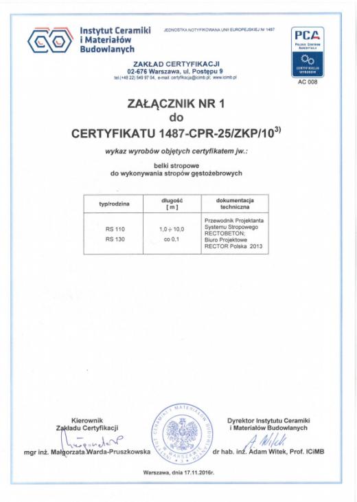 Certyfikat Zgodności Zakładowej Kontroli Produkcji 2487-CPR-25 ZKP 10
