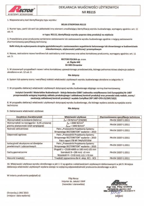 Deklaracja właściwości użytkowych - Belka stropowa RS115 Rector