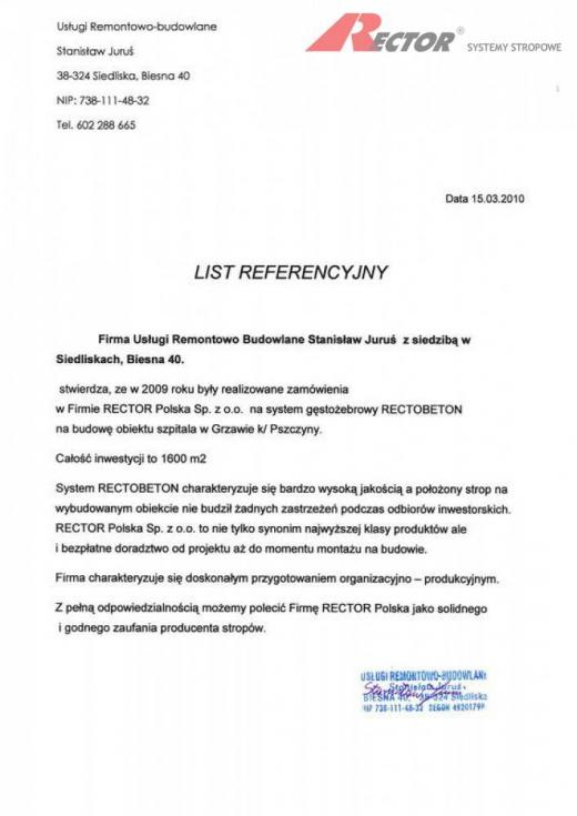 List referencyjny Usługi Remontowo-budowlane Stanisław Juruś