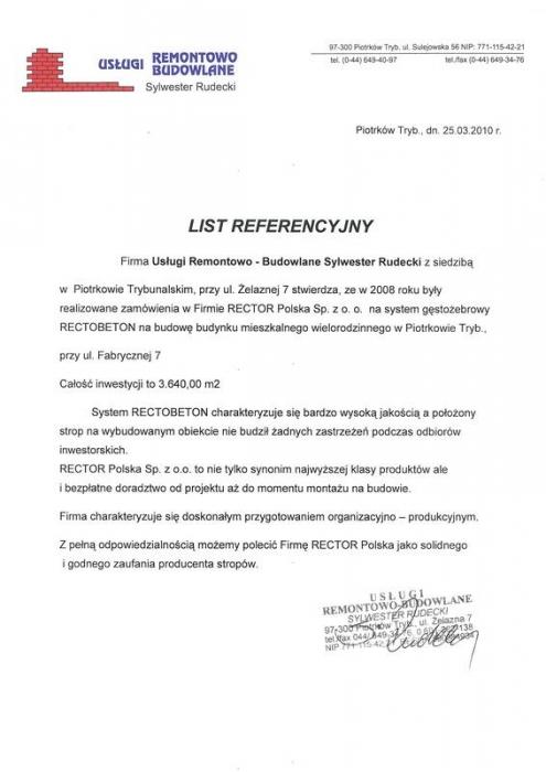 List referencyjny Usługi Remontowo - Budowlane Sylwester Rudecki Rector