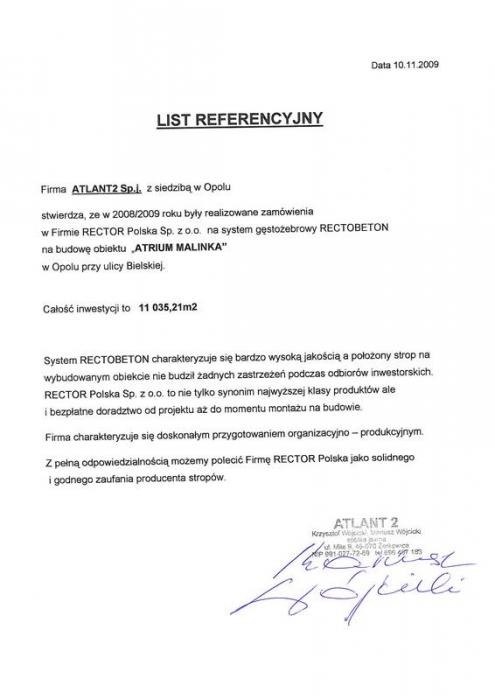 List referencyjny ATLANT2 Sp.j. Rector
