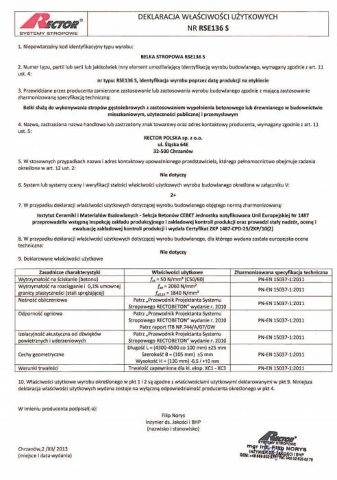 Deklaracja właściwości użytkowych - Belka stropowa RSE136 S Rector