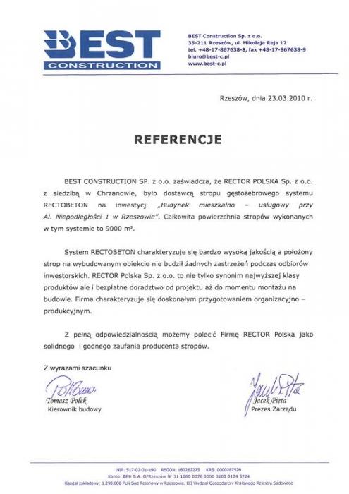 Referencje BEST CONSTRUCTION SP z.o.o. Rector