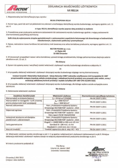 Deklaracja właściwości użytkowych - Belka stropowa RS114 Rector