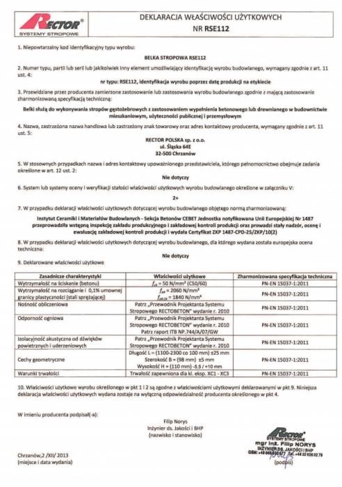 Deklaracja właściwości użytkowych - Belka stropowa RSE112 Rector