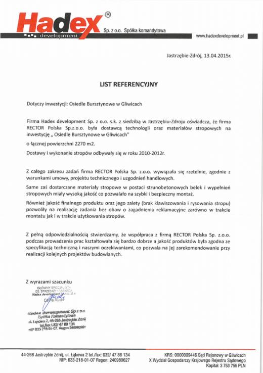 List referencyjny HADEX