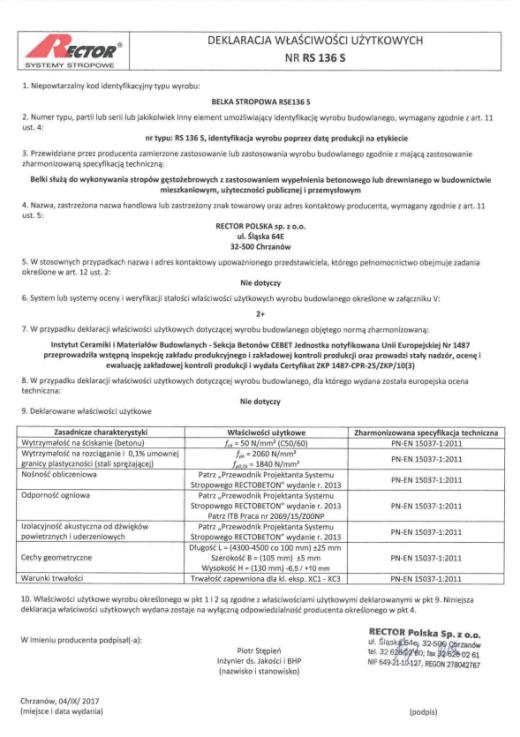 Deklaracja właściwości użytkowych - Belka stropowa RSE136 S