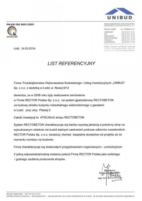 List referencyjny UNIBUD Rector