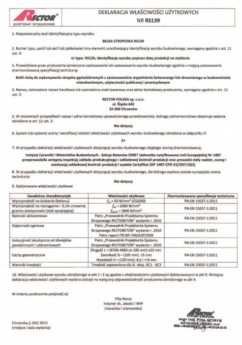 Deklaracja właściwości użytkowych - Belka stropowa RS139 Rector