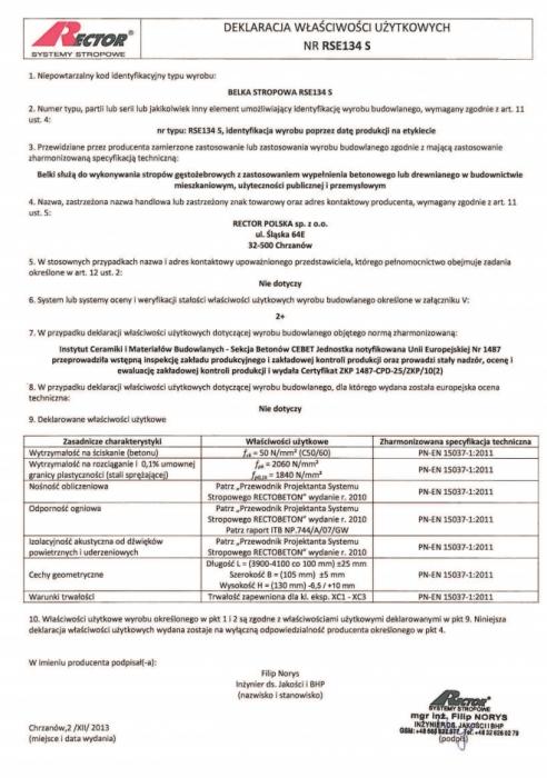 Deklaracja właściwości użytkowych - Belka stropowa RSE134 S Rector