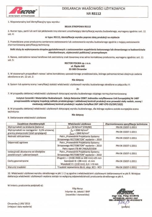 Deklaracja właściwości użytkowych - Belka stropowa RS112 Rector