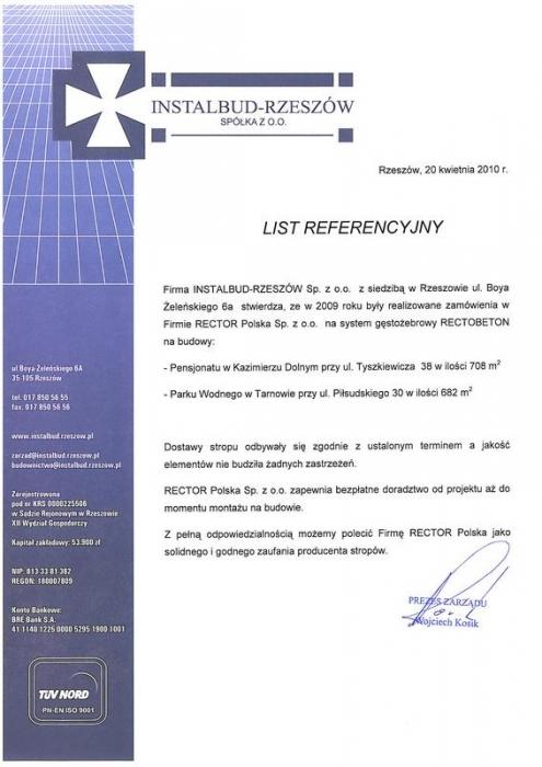 List referencyjny INSTALBUD-RZESZÓW Sp z.o.o.