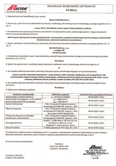 Deklaracja właściwości użytkowych - Belka stropowa RS111 firmy Rector
