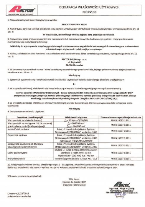 Deklaracja właściwości użytkowych - Belka stropowa RS136 Rector