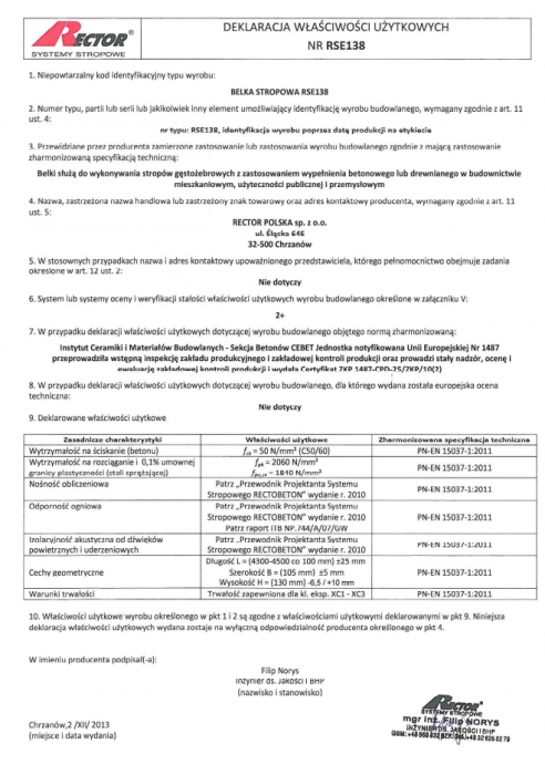 Deklaracja właściwości użytkowych - Belka stropowa RSE138 Rector