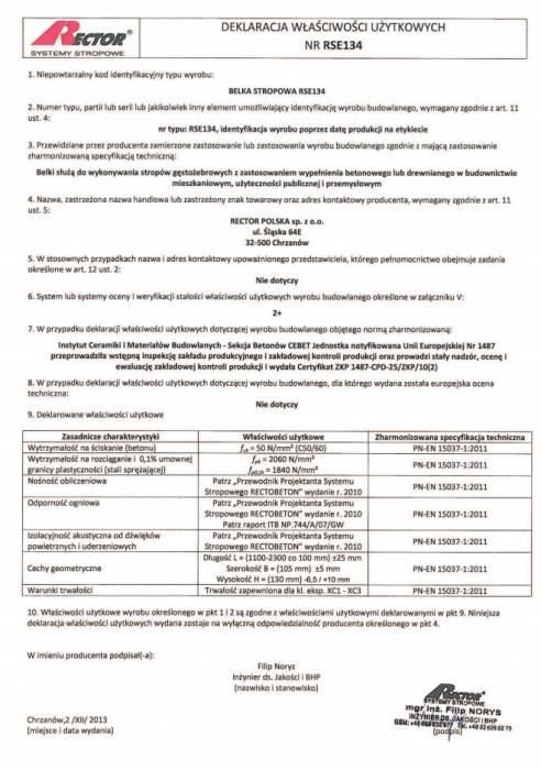 Deklaracja właściwości użytkowych - Belka stropowa RSE134 Rector