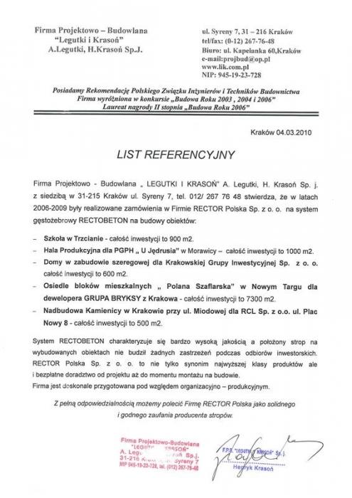 List referencyjny LEGUTKI I KRASOŃ Rector
