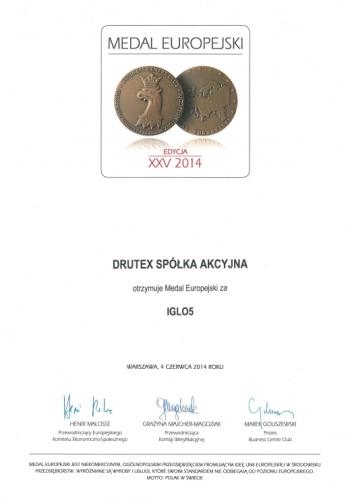Medal Europejski 2014 dla DRUTEX