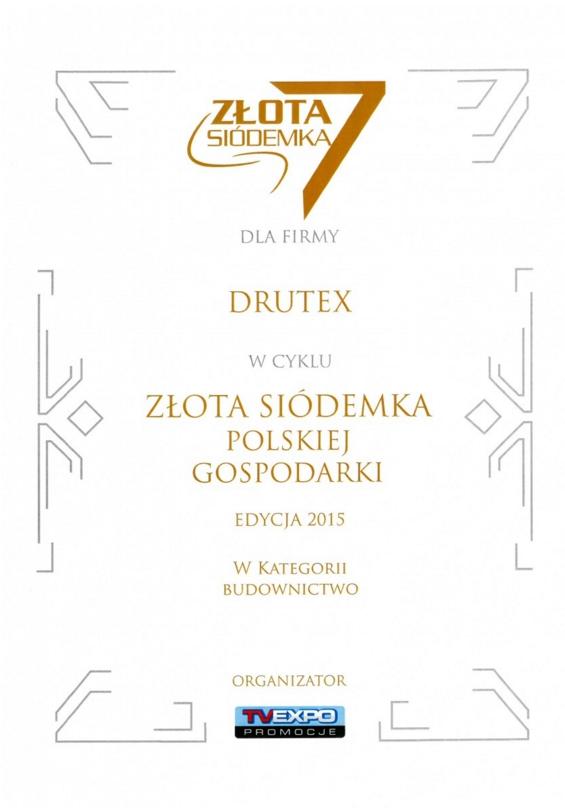 Złota Siódemka Polskiej Gospodarki 2015 dla firmy DRUTEX