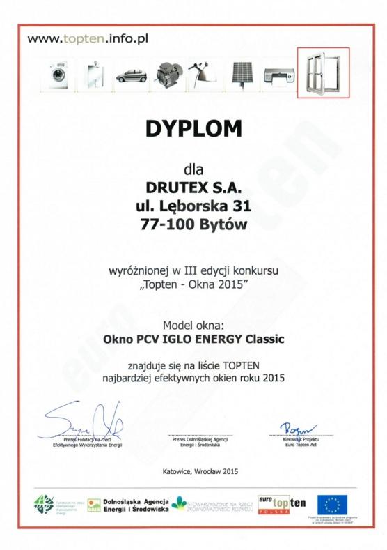 TOPTEN OKNA 2015 - okna PVC dla DRUTEX