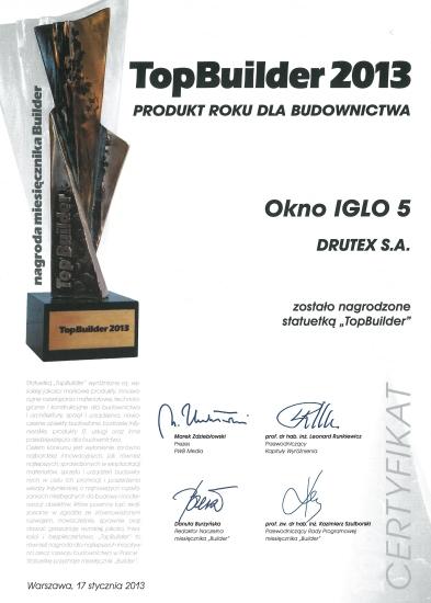 Top Builder 2013 IGLO5 dla firmy DRUTEX