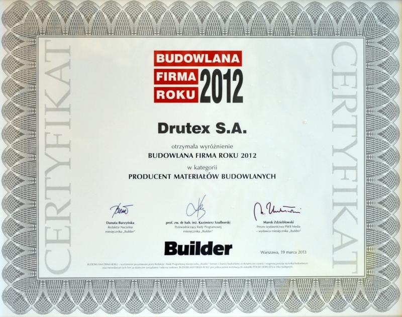 Builder - Budowlana Firma Roku 2012 dla firmy DRUTEX